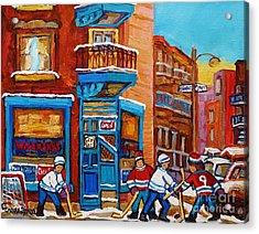 Hockey Stars At Wilensky's Diner Street Hockey Game Paintings Of Montreal Winter  Carole Spandau Acrylic Print by Carole Spandau