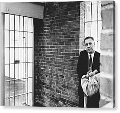 Hoffa Enters Federal Prison Acrylic Print by Underwood Archives