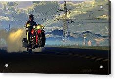 Hog Rider Acrylic Print by Dieter Carlton