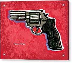 Hogue Grips Hang Gun - Stylised Art Drawing Sketch Acrylic Print by Kim Wang