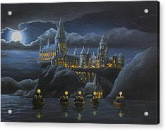 Hogwarts At Night Acrylic Print by Karen Coombes