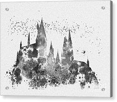 Hogwarts Black And White Acrylic Print by Rebecca Jenkins