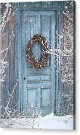 Barn Door And Holiday Wreath/digital Painting Acrylic Print by Sandra Cunningham