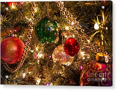 Holiday Ornaments On A Christmas Tree Acrylic Print by Amy Cicconi