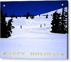 Holiday Skiers At Mt Hood  Oregon Acrylic Print by Glenna McRae