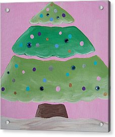 Holiday Tree With Pink Acrylic Print by Tracie Davis