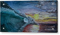 Hollow Wave At Sunset Acrylic Print by Ian Donley