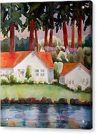 Home By The Lake Acrylic Print by Blenda Studio
