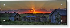Home Town Sunset Panorama Acrylic Print by Mark Kiver