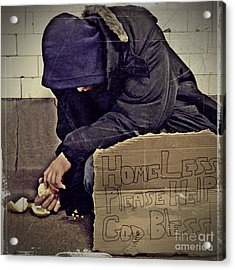 Homeless Please Help Acrylic Print by Sarah Loft