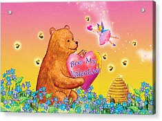 Honey Bear And Fairy Valentine Acrylic Print by Teresa Ascone