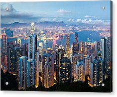 Hong Kong At Dusk Acrylic Print by Dave Bowman