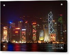 Hong Kong Holiday Skyline Acrylic Print by Ei Katsumata