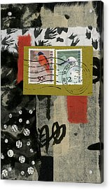 Hong Kong Postage Collage Acrylic Print by Carol Leigh