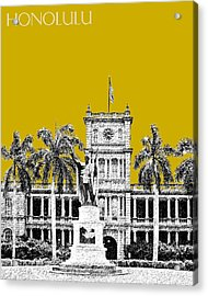 Honolulu Skyline King Kamehameha - Gold Acrylic Print by DB Artist