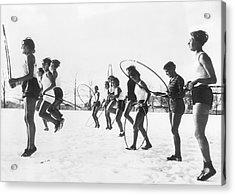 Hoop Jumping Schoolgirls Acrylic Print by Underwood Archives