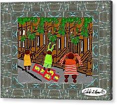 Hopscotch In Harlem Acrylic Print by Cibeles Gonzalez