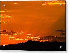 Horetooth Rock At Sunset Acrylic Print by Rebecca Adams