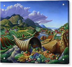 Horn Of Plenty - Cornucopia - Autumn Thanksgiving Harvest Landscape Oil Painting - Food Abundance Acrylic Print by Walt Curlee