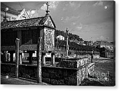 Horreo And Cruceiro In Galicia Bw Acrylic Print by RicardMN Photography