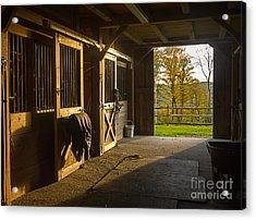 Horse Barn Sunset Acrylic Print by Edward Fielding