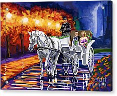 Horse Drawn Carriage Night Acrylic Print by Tim Gilliland