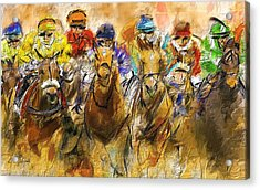 Horse Racing Abstract Acrylic Print by Lourry Legarde