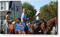 Horseback Riders Acrylic Print by Carolyn Ricks