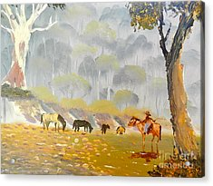 Horses Drinking In The Early Morning Mist Acrylic Print by Pamela  Meredith
