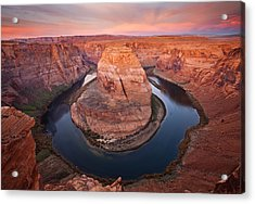 Horseshoe Dawn Acrylic Print by Mike  Dawson