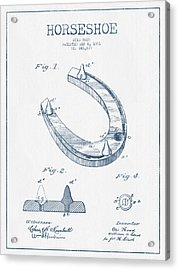 Horseshoe Patent Drawing From 1881- Blue Ink Acrylic Print by Aged Pixel