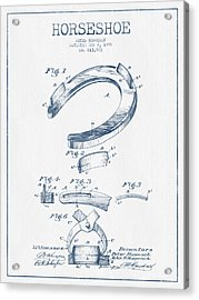 Horseshoe Patent Drawing From 1898- Blue Ink Acrylic Print by Aged Pixel