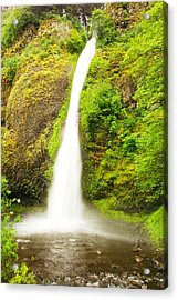 Horsetail Falls In The Spring Acrylic Print by Jeff Swan