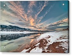 Horsetooth Sunset Hdr Acrylic Print by Preston Broadfoot