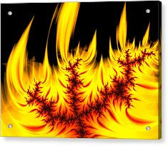 Hot Orange And Yellow Fractal Fire Acrylic Print by Matthias Hauser