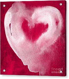 Hot Pink Heart Acrylic Print by Linda Woods