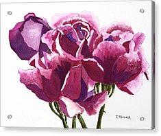 Hot Pink Roses Acrylic Print by Patricia Novack