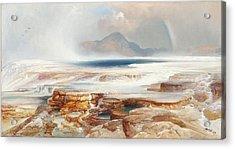Hot Springs Of Yellowstone Acrylic Print by Thomas Moran