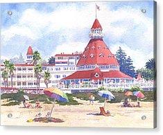 Hotel Del Coronado Beach Acrylic Print by Mary Helmreich
