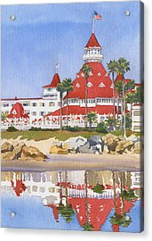 Hotel Del Coronado Reflected Acrylic Print by Mary Helmreich
