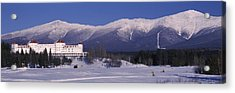 Hotel Near Snow Covered Mountains, Mt Acrylic Print by Panoramic Images