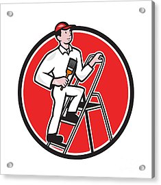 House Painter Paintbrush On Ladder Cartoon Acrylic Print by Aloysius Patrimonio