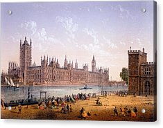 Houses Of Parliament From The South Acrylic Print by Achille-Louis Martinet