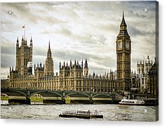 Houses Of Parliament On The Thames Acrylic Print by Heather Applegate