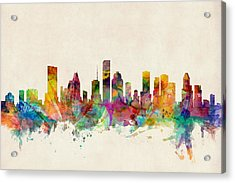 Houston Texas Skyline Acrylic Print by Michael Tompsett