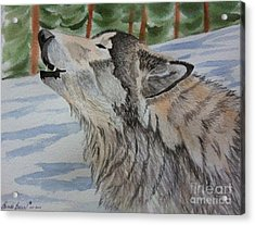 Snow Scenes In Watercolors Acrylic Print featuring the painting Howling Wolf In Winter by Brenda Brown