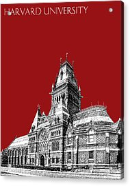 Harvard University - Memorial Hall - Dark Red Acrylic Print by DB Artist