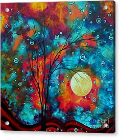 Huge Colorful Abstract Landscape Art Circles Tree Original Painting Delightful By Madart Acrylic Print by Megan Duncanson