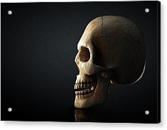 Human Skull Profile On Dark Background Acrylic Print by Johan Swanepoel