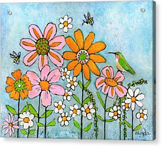 Hummingbird And Bees Acrylic Print by Blenda Studio